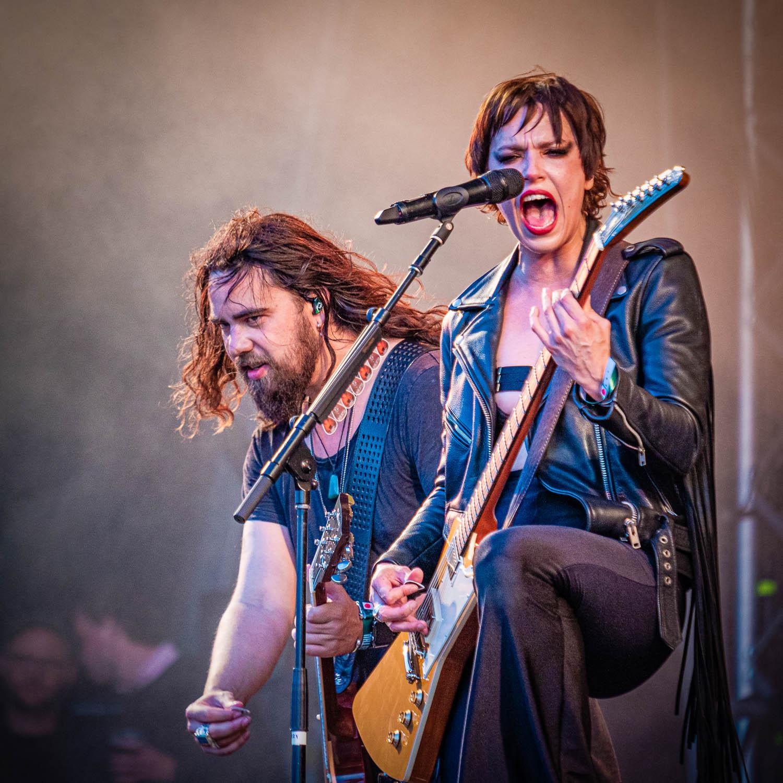 Halestorm live on stage at the 2019 Copenhell Metal Festival - here Lzzy Hale on guitar and vocals and Joe Hottinger on guitar. @officiallzzyhale @halestormrocks @thejoestorm
