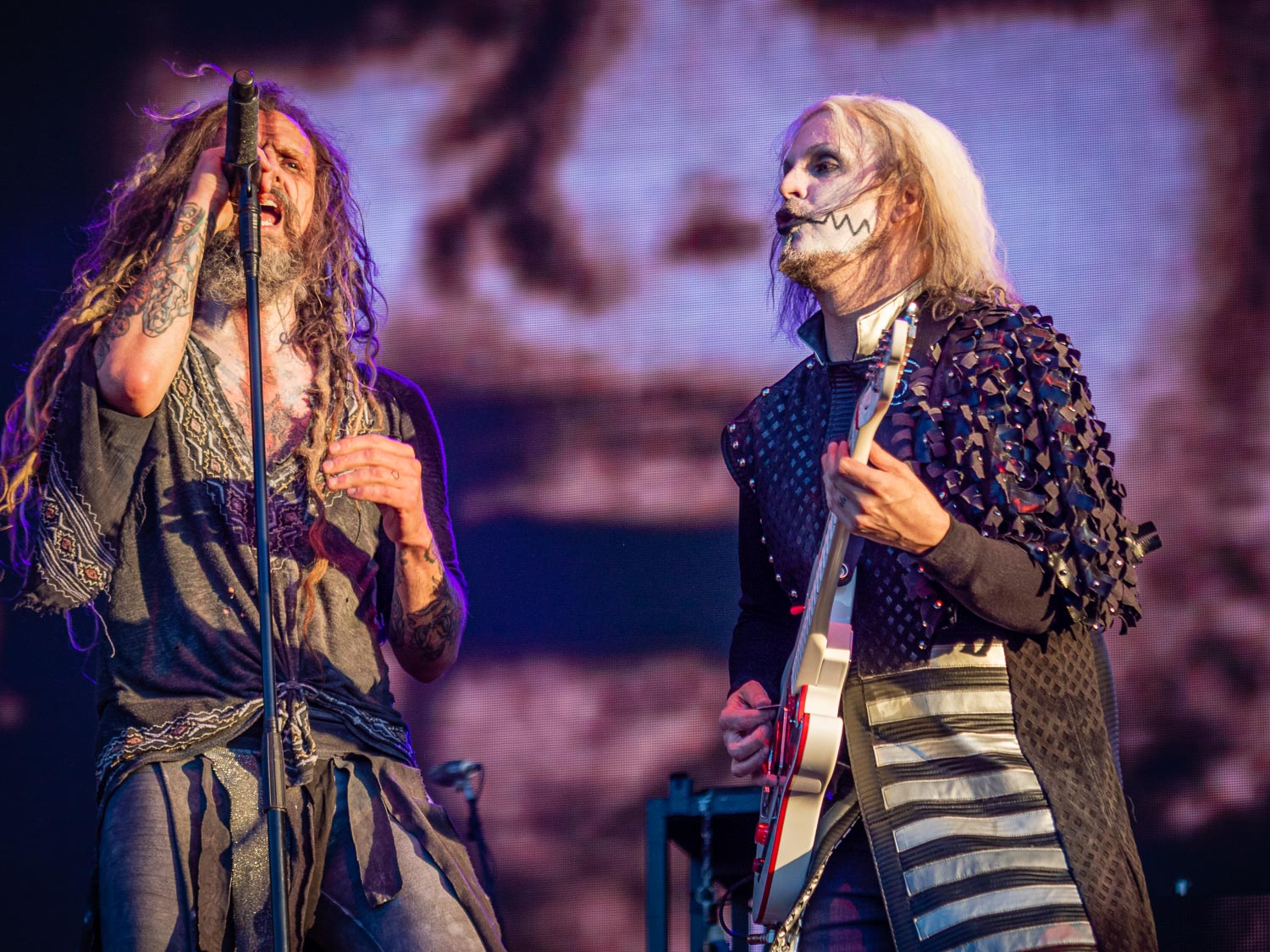 Rob Zombie live on stage at the 2019 Copenhell Metal Festival - here Rob Zombie and John 5