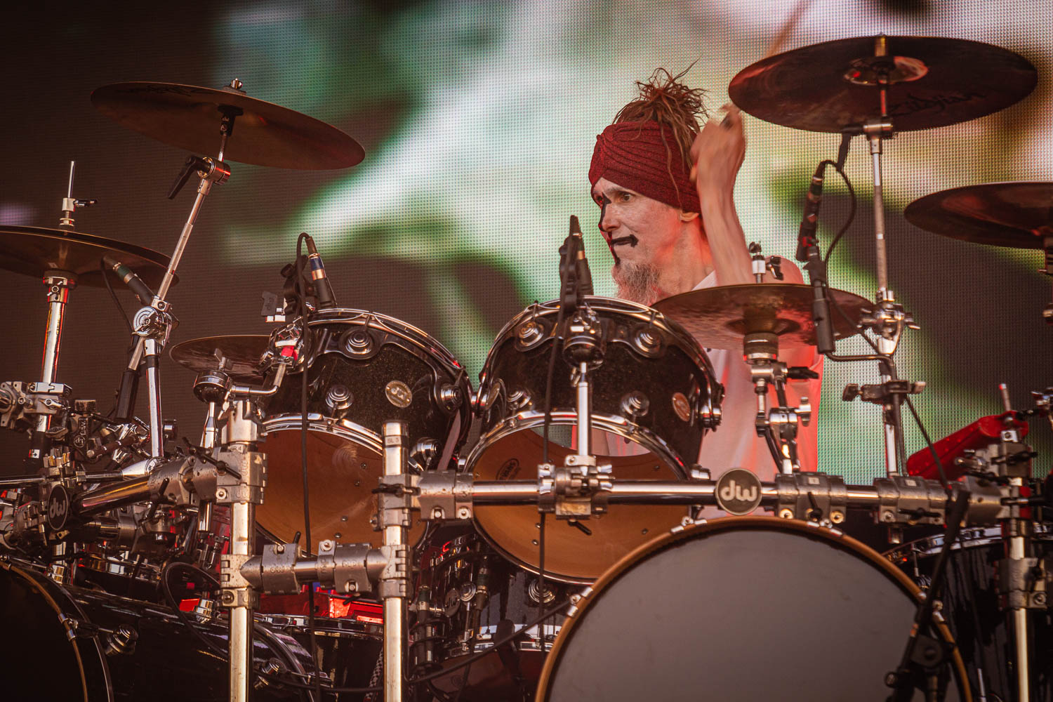 Rob Zombie live on stage at the 2019 Copenhell Metal Festival - here Ginger Fish on drums