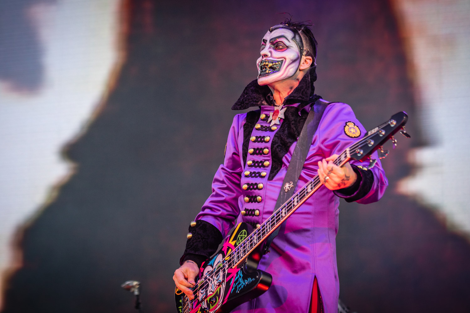 Rob Zombie live on stage at the 2019 Copenhell Metal Festival - here Piggy D on bass