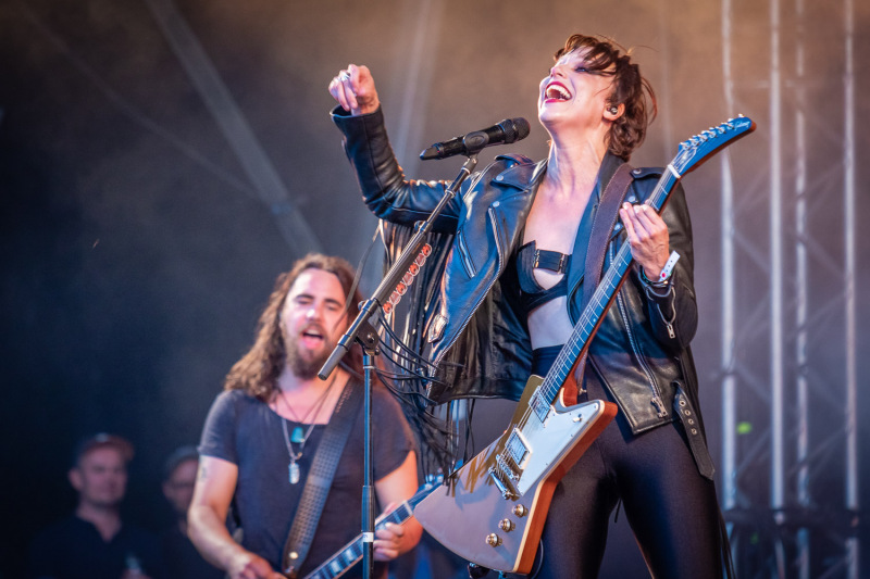 Halestorm live on stage at the 2019 Copenhell Metal Festival - here Lzzy Hale on guitar and vocals and Joe Hottinger on guitar. @officiallzzyhale @halestormrocks @thejoestorm